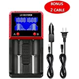 Universal Rechargeable Battery Charger With LCD Display For A AA AAA AAAA C SC LiFePO4 Li-ion IMR Ni-MH Ni-Cd 10440 14500 16340 18650 RCR123 26650 Rechargeable Batteries (2 Slot)