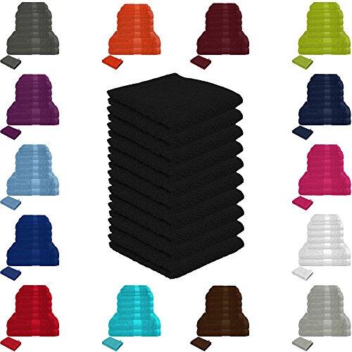 Handtuch Sets Frottier 500g/m2 in vielen Größen und Farben, sowie 10er Sparpack, 100% Baumwolle, 10er Pack Seiftücher Schwarz