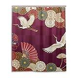 LIANCHENYI Traditionelle Japanische Crane Wasserdicht Bad Vorhang 100% Polyester Stoff Home Dekorative Badezimmer Dusche Vorhang 152,4x 182,9cm