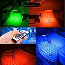 UniqOutlet Multi-Color 8 Color Music 12 LED Car Interior Under dashboard Lighting Kit Sound Activated IR Remote Control Atmosphere Lamp