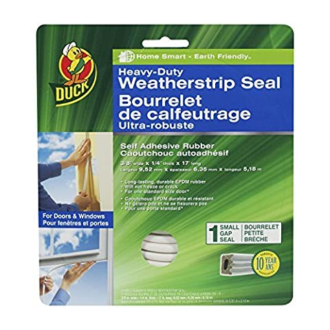 Duck Brand 282439 Heavy-Duty Self Adhesive Rubber Weatherstrip Seal for Small Gap, 3/8-Inch x 1/4-Inch x 17-Feet, 1 Seal by Duck