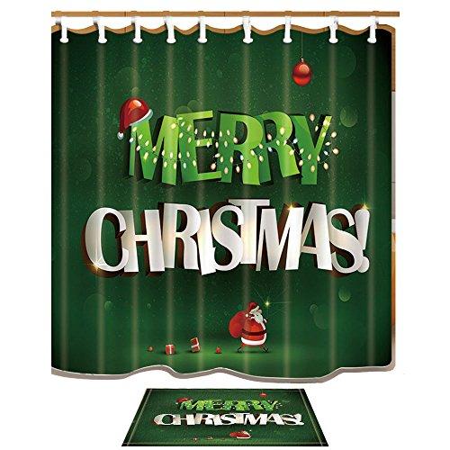 Weihnachtsdekor Ein dicker Weihnachtsmann trägt eine Tasche von Geschenken und Mreey Christmas Titel auf grünem Hintergrund Duschvorhänge Set von KOTOM Bad Vorhänge 69X70 Zoll Indoor Bodenmatte Badteppiche 60x40cm