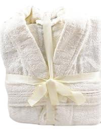 Light Cream 100% Cotton Terry Towelling Bathrobe + Matching Belt - MEDIUM