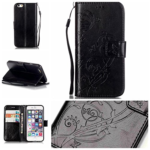iPhone Case Cover Premium PU-Leder Tasche Cover Folio Flip-Standplatz Fall Embossing Blume Fall für iPhone 6 6S 4,7 Zoll ( Color : Black , Size : IPhone 6S 6 ) Black
