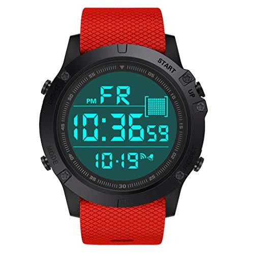 Haludock 5 Bars wasserdichte Militär Digitaluhren Herren Sport Digitaluhr Outdoor Shock Resistant Round Dial Case LED (Band Strap G-shock Loop Watch)