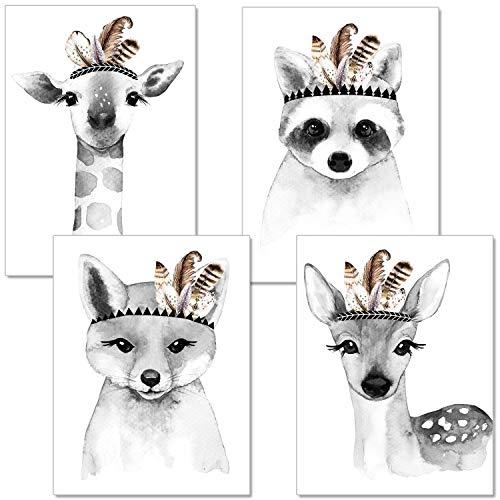 artpin® 4er-Set Poster Kinderzimmer Wohnzimmer Schwarz Weiß - A4 Bilder Babyzimmer Im Skandinavischen Stil - Mädchen Junge - Giraffe,Fuchs,SW(P15)