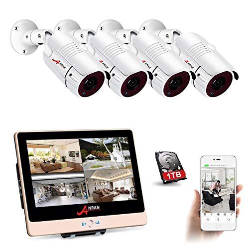 ANRAN CCTV PoE Kit Cámara Vigilancia Monitor 12 Pulgadas