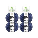 HANSA-FARM 100% Laine d'alpaga (bebé) dans 50+ Couleurs (ne Gratte Pas) - Kit de 200g (4 x 50g) - Laine Baby alpaga pour Tricot & Crochet dans 6 épaisseurs de Fil de Bleu foncé (Heather)