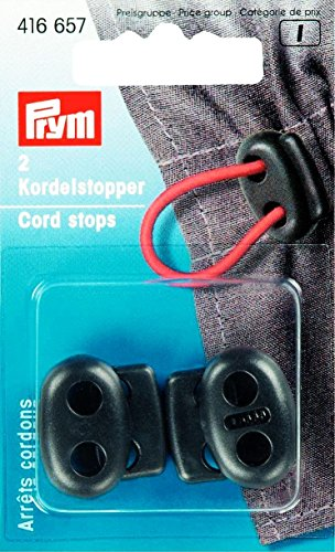 PRYM 416657: 2 Kordelstopper / Zweilochstopper - schwarz