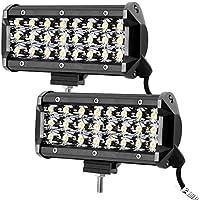 LE 2er LED 72W Zusatzscheinwerfer 12V 24V 7 Zoll 7200lm 3 Reihen Arbeitsscheinwerfer LED Scheinwerfer IP67 wasserdicht Abstrahlwinkel 30 Grad Flutlichtstrahler mit 24 LEDs