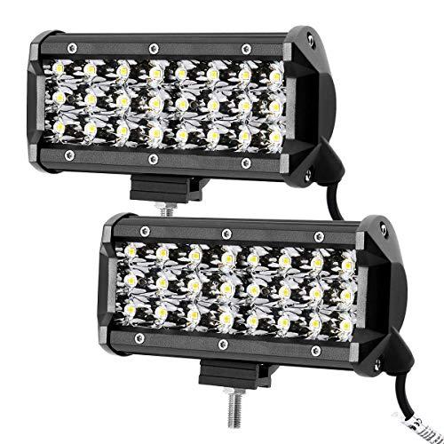 LE Lighting EVER Projecteur Phare LED Feu Travail 72W, 144W au total 6000K Imperméable IP67, Phare Longue Portée LED pour Véhicule, Camion, SUV, Bateau, Chantier, Tracteur, Lot de 2