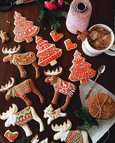 Cortadores de galletas navideñas de 16 piezas (Corazón Pan de jengibre Hombre Copo de Nieve Estrella Arbol Oso Conejo Campana Casa) DIY Decoración de torta de Fondant para niños de acero inoxidable