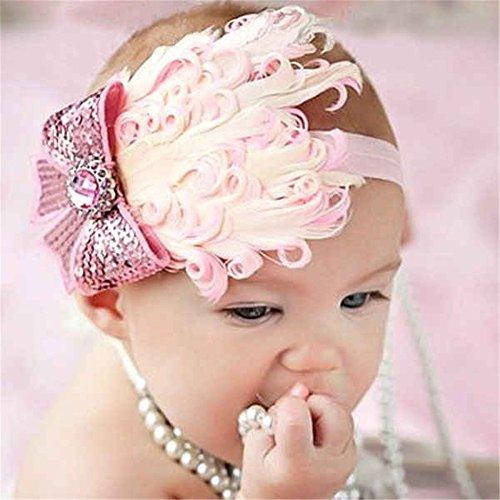 DDU Modisch Mädchen Baby Kleinkind Feder Kopfbedeckung Stirnband Fotografie Prop Pink