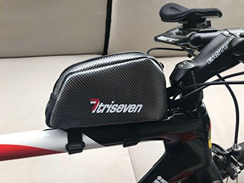 triseven Carbon Radfahren Rahmen Tasche Aero 20*Fernstraße Triathlon Tasche* MTB Tasche*Oberrohrtasche*Fahrrad Zubehör*6 Gele,Smartphone,Brieftasche*4 Straps oder 2 Schrauben*Kopfhörer Loch* (Silber)