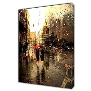 WALKING WOMEN UNDER RAIN IN LONDON STREET PHOTO PRINT ON FRAMED CANVAS WALL ART 34 x 24inch -18mm depth