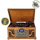 Lauson Tocadiscos Bluetooth con Función Encoding, Lector CD, Casete, Radio FM, USB mp3 33/45/78 RPM...