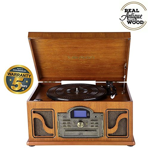 Lauson CL607 Système Stéréo Tourne-disque avec Haut-parleurs intégrés et Bluetooth | lecteur CD et Cassette | USB/MP3 et Fonction Encodage | Radio | 3 Vitesses RPM