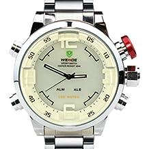 Weide WH2309-White - Reloj para hombres, correa de acero inoxidable color plateado