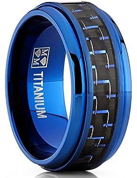 Ultimate Metals Co.® 9MM Herren Blau Titan Ehering mit Schwarz und Blau Kohlefaser, Bequemlichkeit Passen