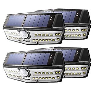 Mpow 4 Pack 30 LED Eclairage Solaires Extérieure Etanche IPX6+, Détecteur de Mouvement, Panneau Solaire 23% Conversion, Spot Solaire Idéal pour Jardin, Allée, Cour, Garage, Escalier