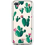 Robinsoni Case Compatible with Xiaomi Redmi 6A Pro Soft Silicone TPU Case Glossy Gel Rubber Cover Ultra Soft Flexible Transparent Crystal Flowers Case Ultra Thin Glitter Case, Prickly Pear