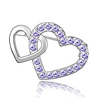 Women Fashion Brooches & Pins Jeweled Girl Alloy Crystal White Gold Plated Purple Violet Heart By