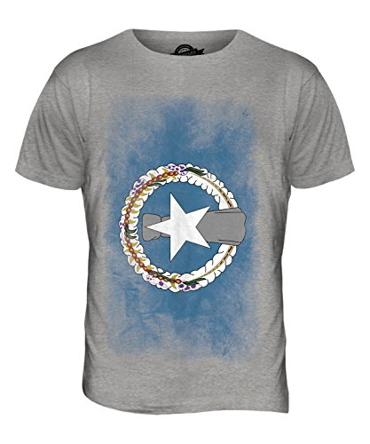 CandyMix Nördliche Marianen Verblichen Flagge Herren T Shirt Grau Meliert