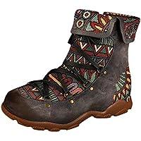 Stiefel Damen Flach Retro Ethno Drucken Kurzschaft Reißverschluss Kurze Stiefel Schnürsenkel Revers Schuhe Damenschuhe