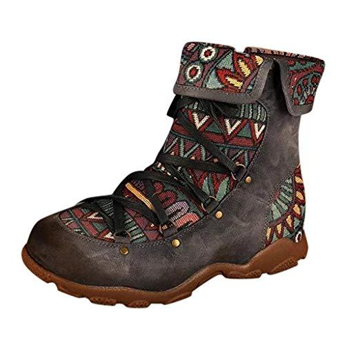 HOUMENGO Botines de Cuero para Mujeres, Invierno Mujer Botas de Nieve Cuero Botines Zapatos de Mujer...