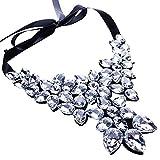 Yazilind Deaktivieren Sie Crystal Flower Anhänger Choker Halskette Ribbon Kette Klobige Kragen Schmuck Hosen Frauen
