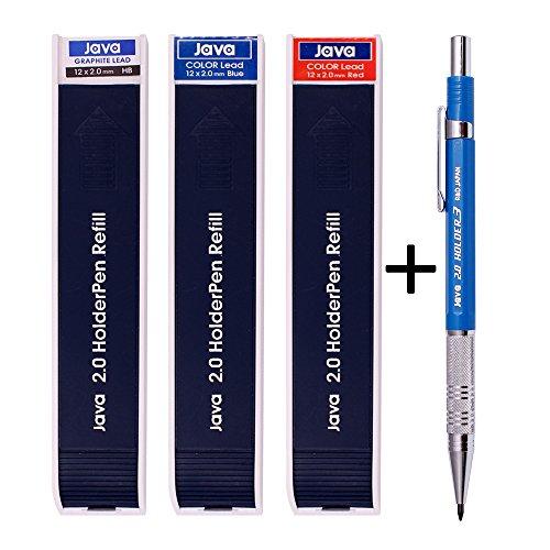 Java Stift 2.0mm Ausarbeitung graphit Halter Bleistift + schwarz/rot/blau führt 3Tube Set Verkauf -