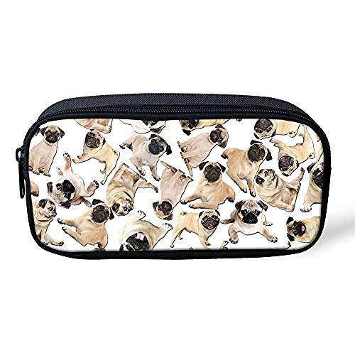 SFAOBTB Kinder Schultasche, Mädchen, Jungen Tasche Federmäppchen Schule Büro Frauen Kosmetik Make-up Tasche Portable Kinder Geschenke Mops Hund@Mops Hund weiß -