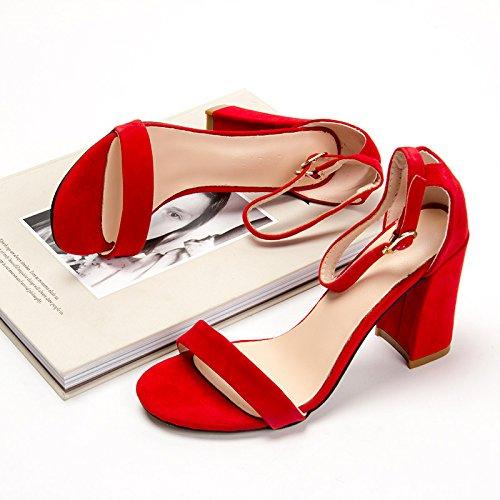 XY&GKIm Sommer Damen Sandalen Schnalle mit Leder ein Wort mit Dicken von high-heeled Sandalen, komfortabel und schön gefolgt 38 red (solid color with 8cm)