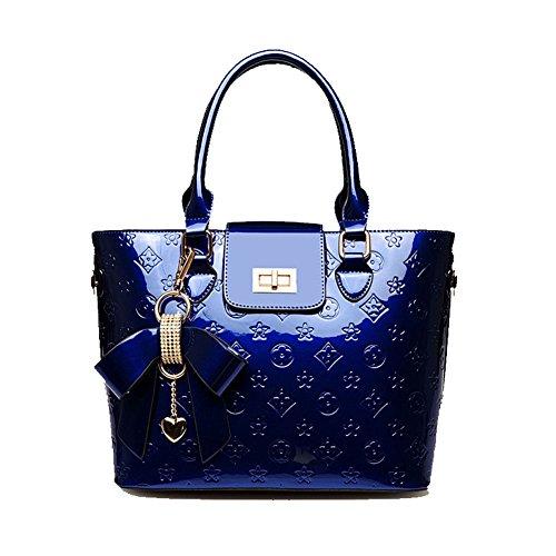 Delle donne e di nuovo modo di goffratura Tote di alta qualità dellunità di elaborazione di spalla della ragazza sacchetto di svago Travel Bag inclinato borsa può contenere iPad Sumsang E Altri Table Blue