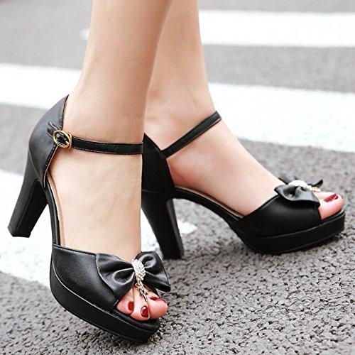 TAOFFEN Femmes Peep Toe Sandales Mode Bloc Talons Hauts Chaussures De Boucle De Bowknot Noir