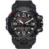 Relojes hombre deportivo JOEFOX, Reloj analógico digital Moda deportiva multifunción a prueba de agua fecha de la alarma de goma negro reloj de
