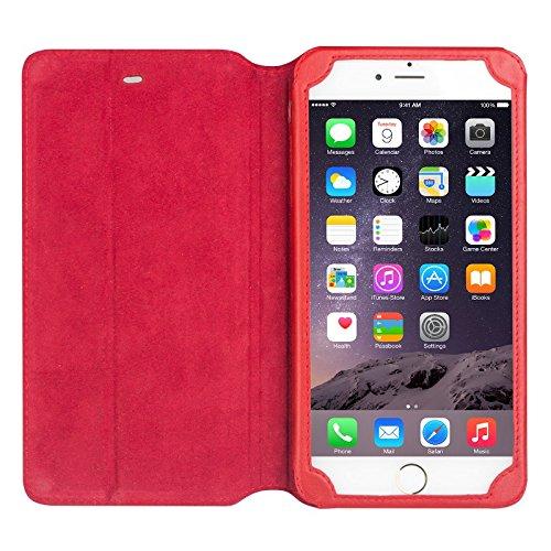 "iPhone 6/6S/+ Plus Ständer Fall, Slim Flip echtes Leder Schutzhülle, qialino Ultrathin Bookstyle Case, 11,9cm/14cm Apple Zelle Displayschutzfolie, Leder, iphone6 Brown, 4.7"" iphone6 iphone6s plus Red"