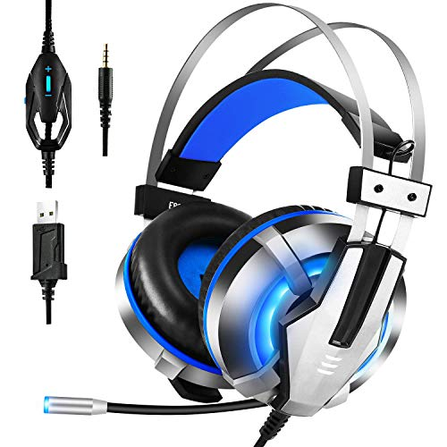 EKSA Gaming Headset PS4, 3.5mm Xbox One Headset mit Noise Cancelling Mikrofon, LED-Licht, Bass Surround Sound, 50mm Lautsprecher Treiber Kopfhörer für PC MAC Laptop IPad IPod Smartphone(Blau)