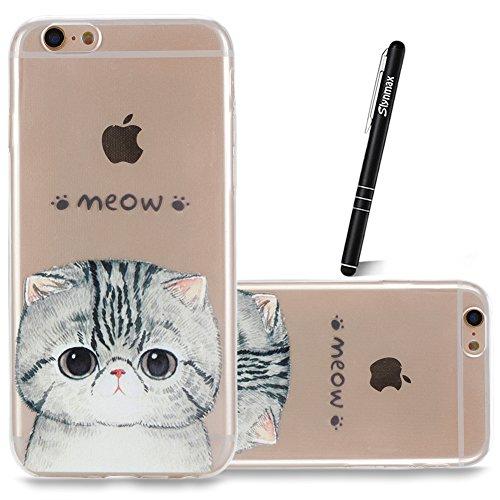 iPhone 6s Plus 5.5 Custodia Cover Silicone,Slynmax Sottile TPU Case Morbido Flessibile Gel Transparent Silicone Bumper Protettivo Skin per iPhone 6s Plus 5.5 Slim Cover Trasparente Caso Chiaro Cristal Gatto