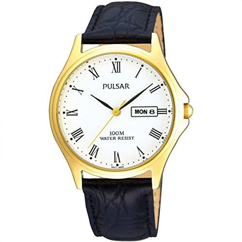 Pulsar gents stainless steel case and leather strap watch, 100m water resistance