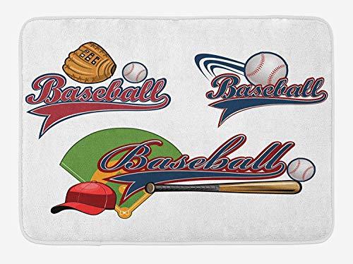 tgyew Sports Bath Mat, Baseball Mitt Ball Bat Hardball Supplies Exercise Team Various Classical Designs, Plush Bathroom Decor Mat with Non Slip Backing, 23.6 W X 15.7 W Inches, Multicolor -