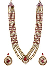 Zaveri Pearls Royal Look Long Traditional Necklace Set-ZPFK6370