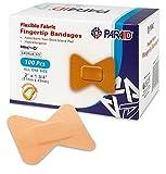 Bendaggio in Tessuto Flessibile - Bende Adesive in Tessuto Elasticizzato per Polpastrelli – Bende per la Cura delle Dita e per Proteggere le Ferite dalle Infezioni – (Scatola da 100 Pezzi)