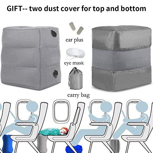 Poggia-piedi da viaggio gonfiabile haobaimei-viaggi cuscino da viaggio per bambini cuscino poggia-piedi gonfiabile per piedino (grigio)
