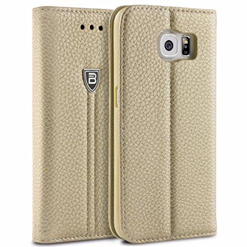 Samsung Galaxy S6 Hülle, BEZ® Handyhülle Samsung Galaxy S6, Handytasche Schutzhülle aus Kunstleder Hülle Klappetui mit Kreditkartenhaltern, Ständer, Magnetverschluss - Gold