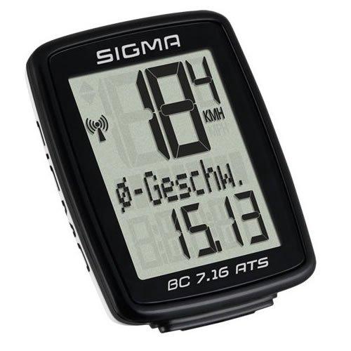 Sigma Sport Fahrrad Computer BC 7.16 ATS, 7 Funktionen, Durchschnittgsgeschwindigkeit, Kabelloser Fahrradtacho, Schwarz