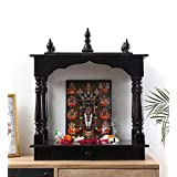 HomeCrafts Wooden Temple Pooja Mandir for Home, Small, 16 X 10 X 19 Inch, Walnut