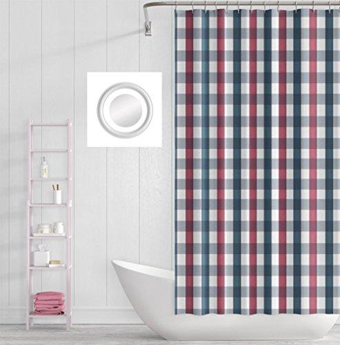 MEILI Rot weiß blau Gitter Duschvorhang Trennwand wasserdicht Schimmel , 1 , 200*200 (Gitter-duschvorhang)
