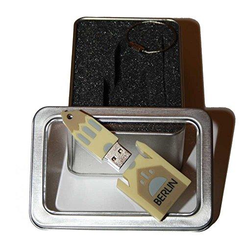 Preisvergleich Produktbild Souvenir Berlin   Geschenkidee: USB-Stick mit Schlüsselanhänger in Form der Gedächtniskirche für Frauen u. Männer   inklusive Fotogalerie von Berliner Sehenswürdigkeiten   Memory Stick 2 GB   CultourStix