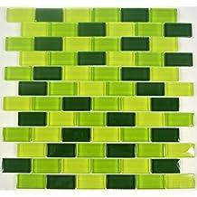 azulejos mosaico mosaico azulejos baño Crystal Brick verde Mix cenefa nuevo 8mm # 442